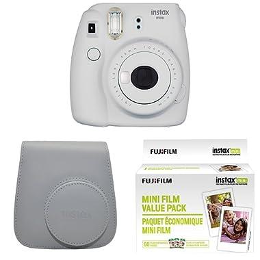 Fujifilm Instax Mini 9 Instant Camera with Instax Groovy Camera Case (Smokey White) & Instax Mini Instant Film Value Pack