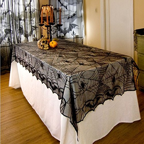 JUIOKK Lace Halloween Tablecloth Spider Net Table Runner Mantle Backdrop Halloween Party Events DIY Decoration -