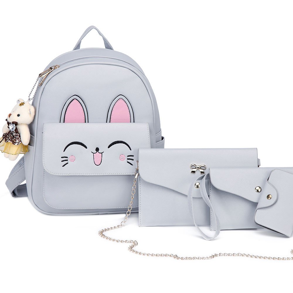 DIOMO Womens Cat Backpack Set Leather Multi-Way Girls School Backpack Cartoon Pendant (Gray)