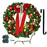 Christmas Wreath with LED Lights Artificial Xmas Pine Wreath 24in