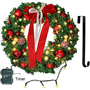 Superbe Christmas Wreath With LED Lights   Christmas Garland   Artificial Xmas Pine  Wreath   Battery Operated