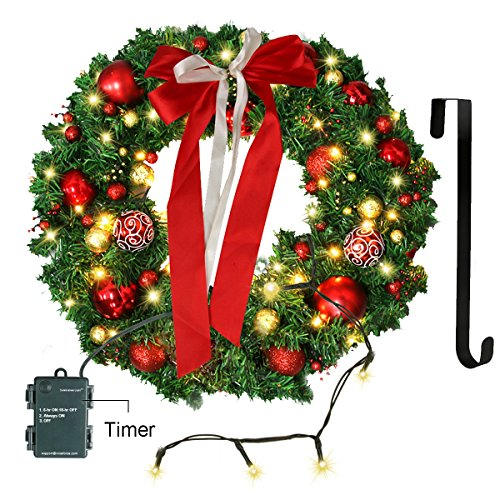 Christmas Wreath with LED Lights Artificial Xmas Pine Wreath 24in Deal (Large Image)