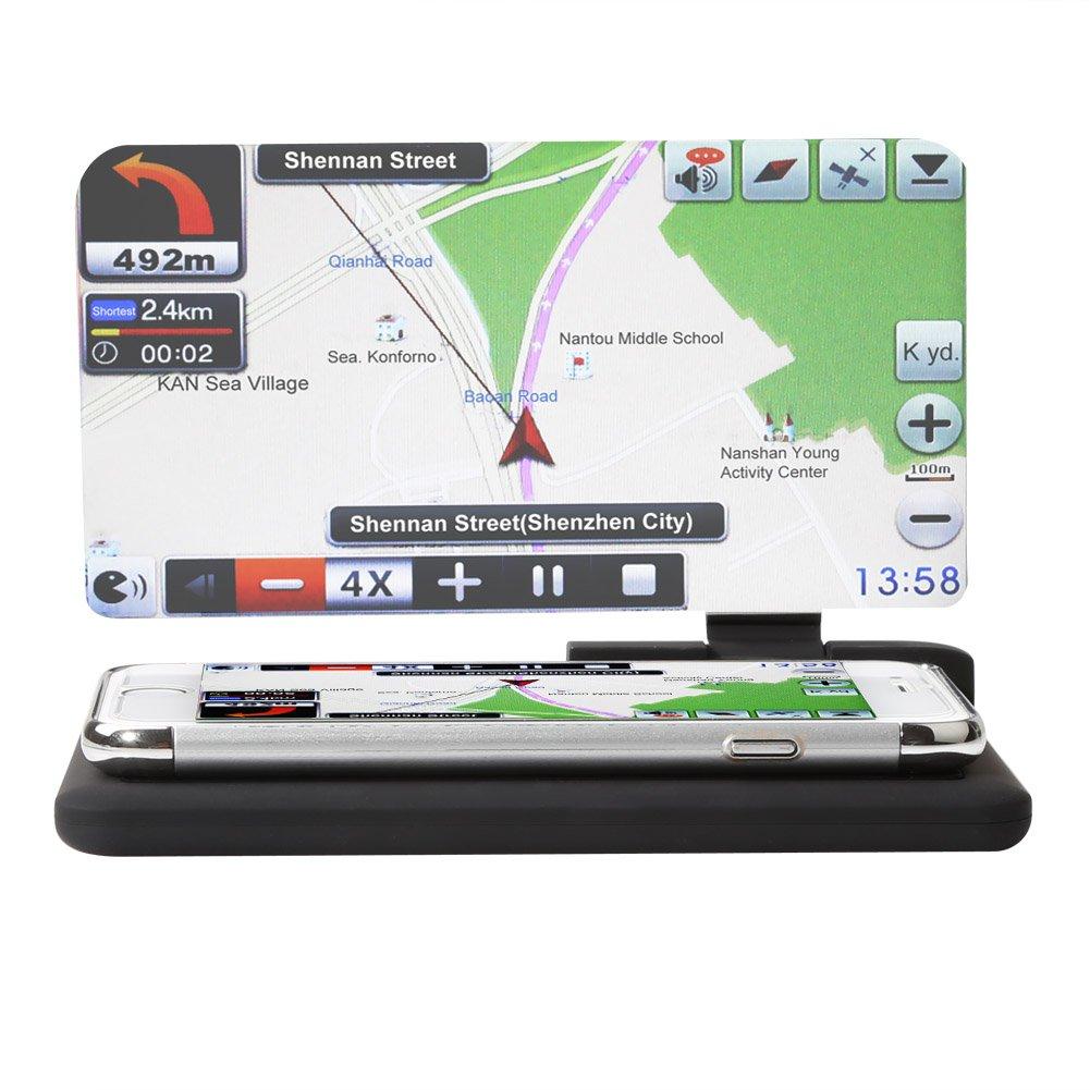Rupse Universal HUD Head Up Display Support GPS Navigation de Voiture Projecteur D'affichage l'Image Réflecteur pour Smart Phones Téléphone Mobile (H6) cheap