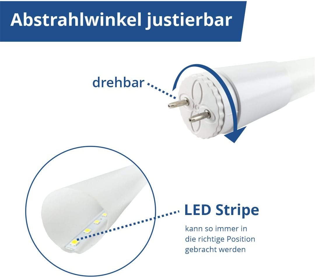 LUXULA LED Tubes T8, Pack of 4, 60 cm LED Tube, 9 W/1050 Lumen, LED Tube 60  cm Super Bright, LED Tube Lamp with Starter (Cold White (6000 K), 60 cm, 9  W, Pack of 4: Amazon.de: Beleuchtung