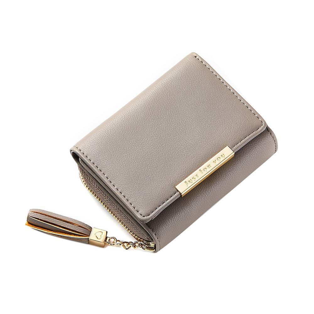 Women's RFID Blocking PU Leather Wallet Card Holder Organizer Girls Coin Purse with Snap Closure