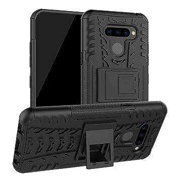 Abuenora Funda para LG K50, LG Q60 Carcasa Antigolpes Robusta Case 360 Doble Capas Protector Resistente Golpes Caída con Soporte Cubierta Color Negra