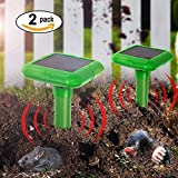 2 X VENSMILE Solar Powered Mole Repeller Gopher Repellent Repel Voles Mice ...