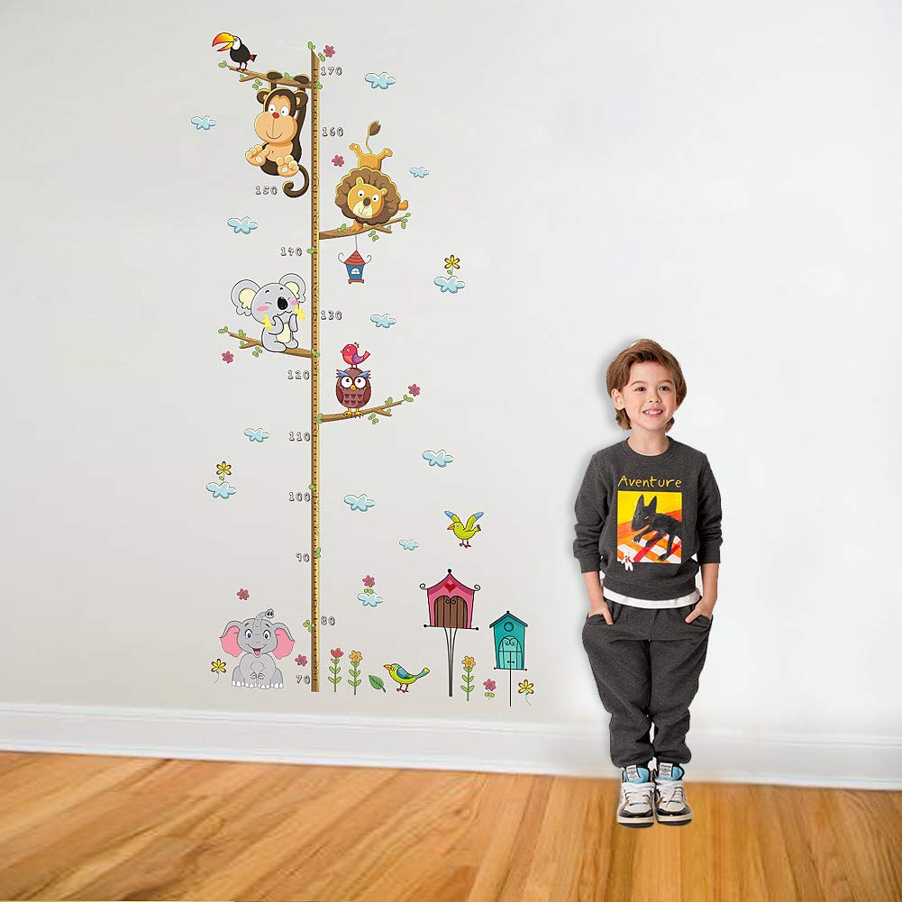 Height Stickers for Kids Cute Animals Height Chart Kids Wall Decals Wall Stickers for Kids Nursery Bedroom Living Room