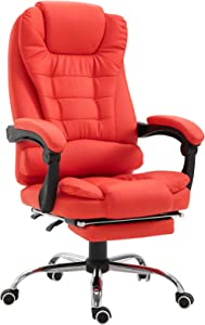 HomCom Reclining PU Leather Executive Home Office Chair with Footrest - Red