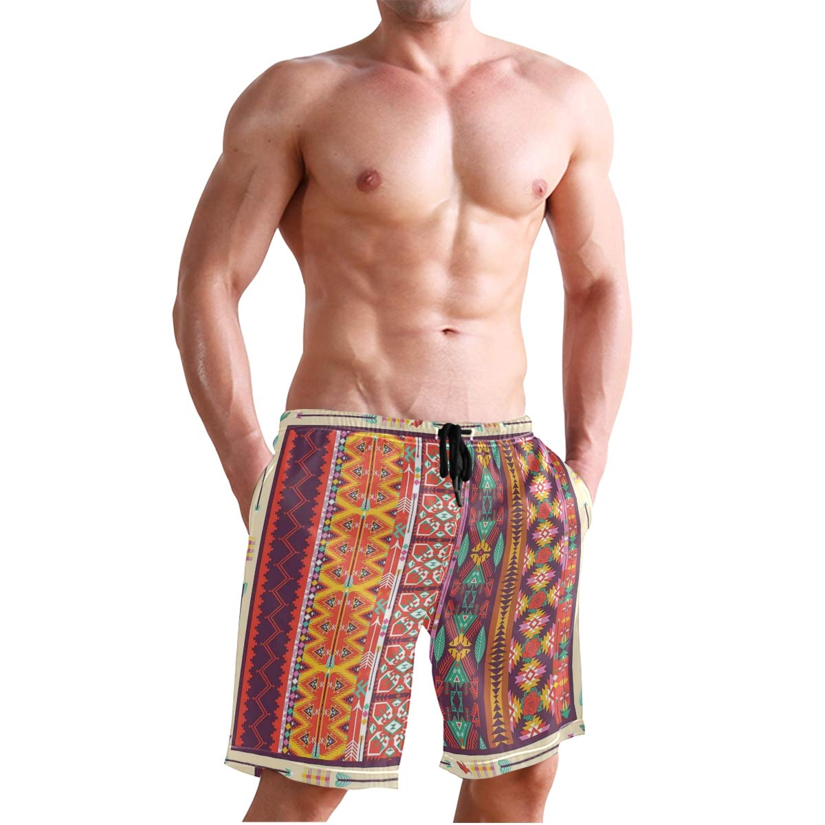 KVMV Colorful Patchwork Art Oriental Patterns Ornaments Cult Quick Dry Beach Shorts