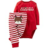 GRNSHTS Baby Girls 2 Pieces My First Christmas Romper + Striped Pant Set