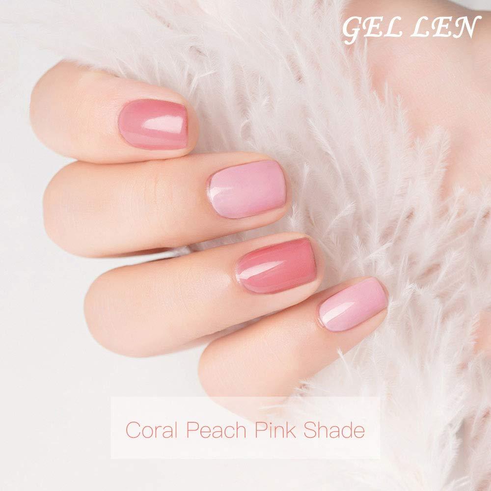 Amazon.com : Gellen UV LED Gel Polish Kit Coral Peach Pink Shade ...
