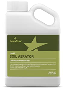 LawnStar Liquid Soil Aerator (1 Gallon) - Loosens & Conditions Compacted Soil - Alternative to Core and Mechanical Aeration - Improves Water Penetration & Drainage + Soil Oxygenation - American Made