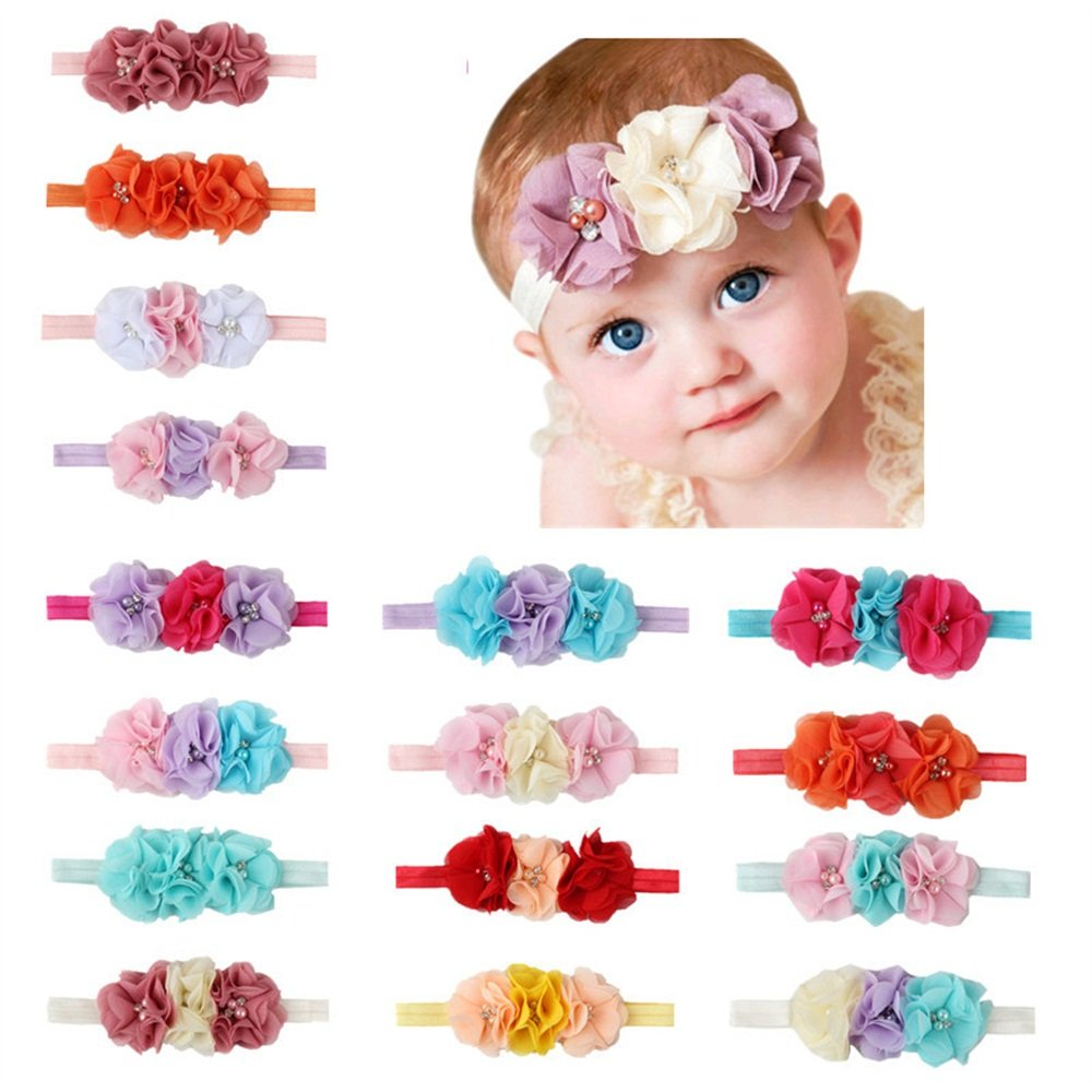 EsTong Baby Girls Elastic Handband Chiffon Flower Hair Accssories For Newborn Toddler And Kids 17Pcs