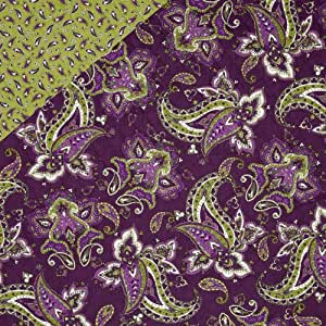 St. Croix Double-Sided Quilted Paisley Lime/Purple Fabric By The Yard