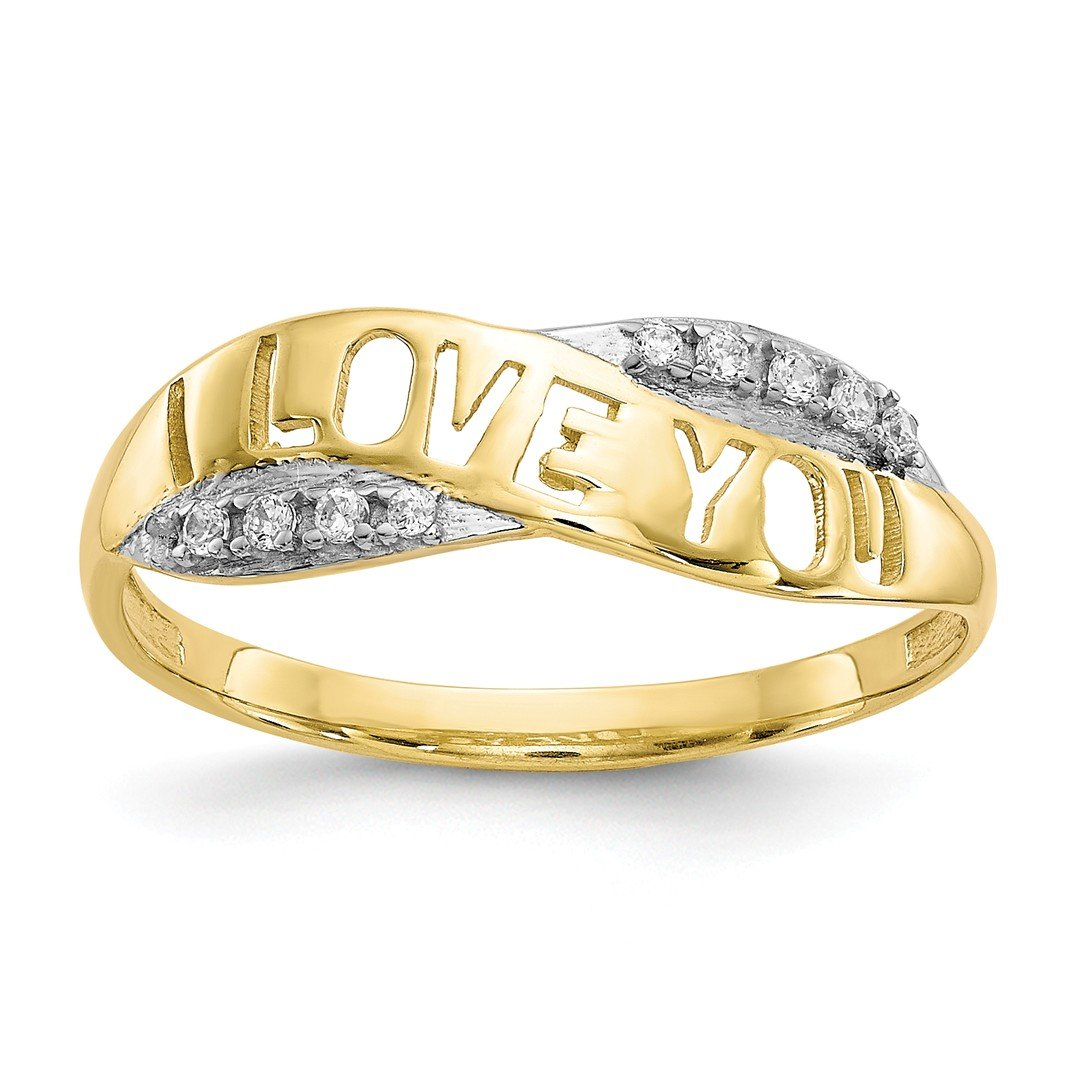 ICE CARATS 10kt Yellow Gold Cubic Zirconia Cz I Love You Band Ring Size 6.00 S/love Fine Jewelry Ideal Gifts For Women Gift Set From Heart