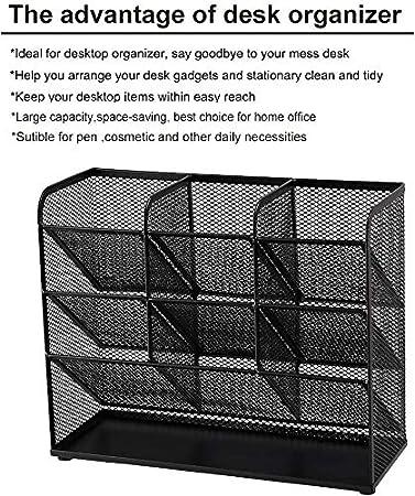 Portapenne Multifunzione Rack di Stoccaggio per Materiale Scolastico per Ufficio a casa Marbrasse Organizer da Scrivania a rete Argento Organizzatore fisso da Scrivania