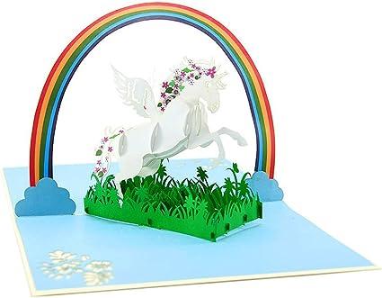 carta regalo Motif: Unicorno Pop-Up Cards carta di congratulazione Scheda di compleanno 3D busta e copertina a mano integrata Cartolina dauguri