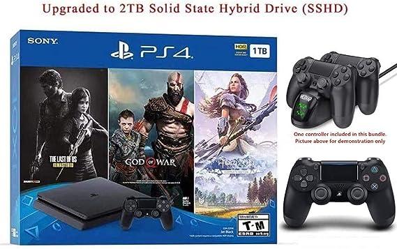 HESVAP 2019 - Juego de Accesorios para Playstation 4 (2 TB, SSHD, Solo en la Consola Playstation PS4, Incluye 3 Juegos) con estación de Carga: Amazon.es: Electrónica