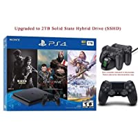 2019 Newest Playstation 4 Holiday Bundle HESVAP Upgraded 2TB SSHD on Playstation PS4 Console Slim Bundle-Included 3X Games (The Last of Us,God of War,Horizon Zero Dawn) W/HESVAP Charging Station Dock
