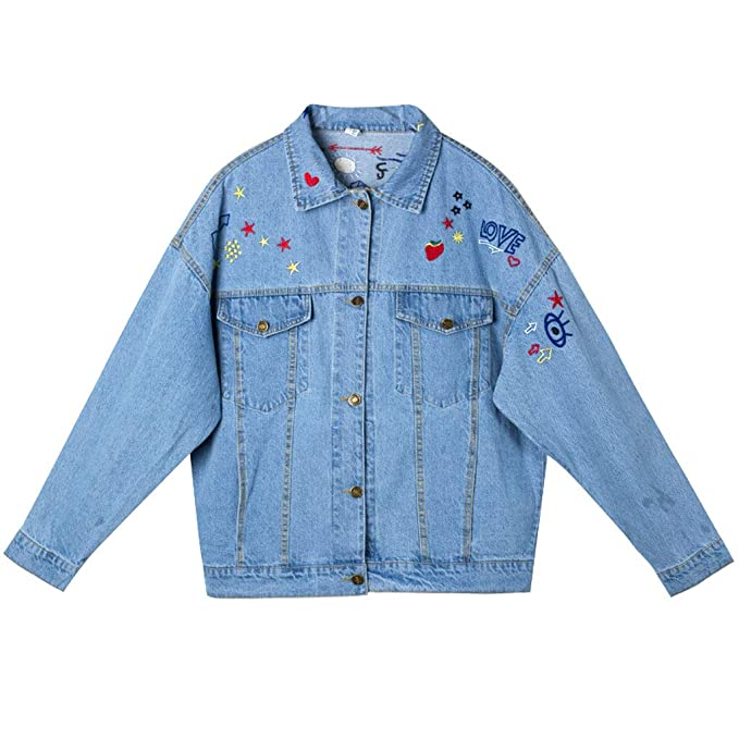 Amazon.com: Cute Embroidered Denim Jacket Womens Loose ...