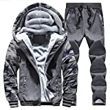 Susanny Winter Men's Thick Velvet Hoodies Sweatshirts Coat Pants Zip Jacket Sport Tracksuit XL Dark Grey