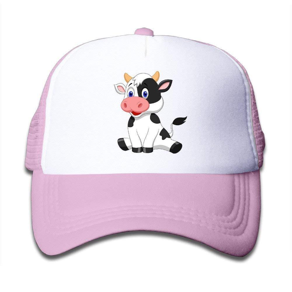 FEAIYEA Cute Cartoon Cow Fashion Toldder Kids Cute Adjustable Mesh Cap Hats Travel School Cap