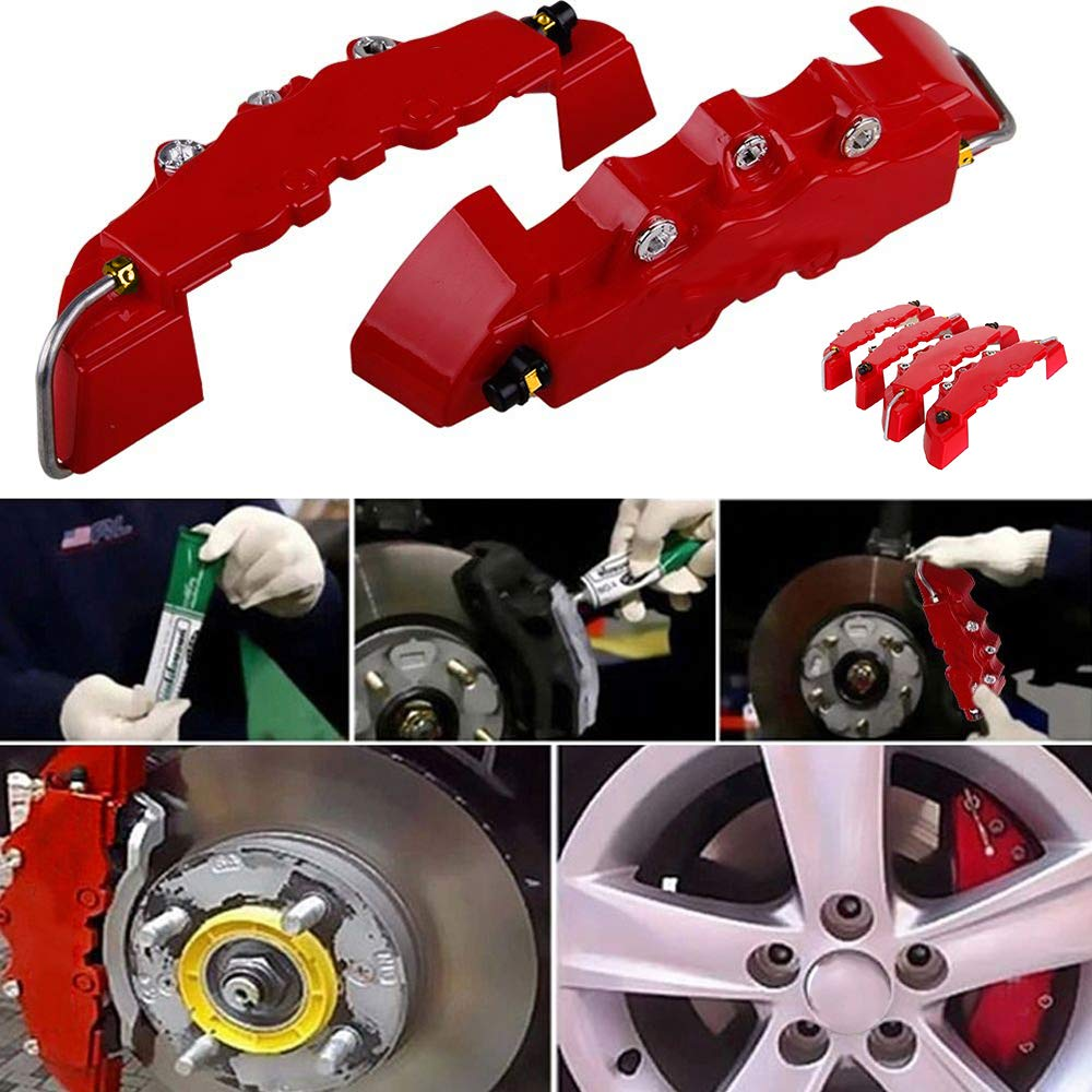 Walmeck 4PCS ABS Plastic Truck 3D Red Useful Car Universal Disc Brake Caliper Covers Front Rear Auto Universal Kit Decoration Modification Set for 14~18 Inch Over Wheels