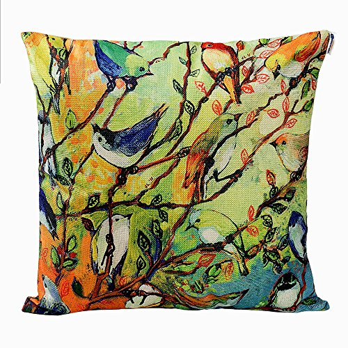 Anickal Birds and Tree Branch Decorative Throw Pillow Covers Cotton Linen Cushion Cover 18×18 Inches for Home Couch Sofa…