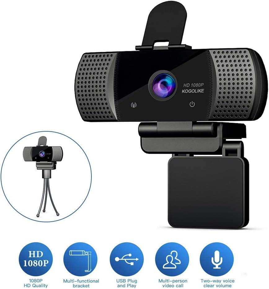 KOGOLIKE Webcam PC Full HD 1080P con Micrófono, USB 2.0 Cámara Web, con Webcam Cover Y trípode para Portátil Videollamadas, Estudios, Conferencias, Grabación, Juegos con Clip Giratorio, Plug and Play