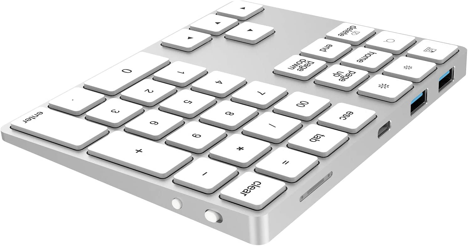 External Number Pad for Laptop Tablets ROOHO USB Type-C Wireless Bluetooth Numeric Keypad with USB Hub for MacBook,MacBook Air,MacBook Pro,iPad,Surface Windows Android Extended Battery Life