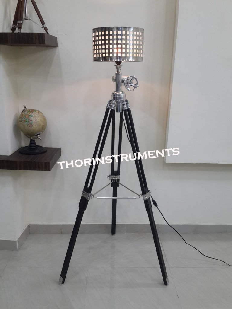 Surveyor Black Nautical Wooden Tripod Floor Lighting Lamp With Chrome Lamp Shade Home Decor Best Gift