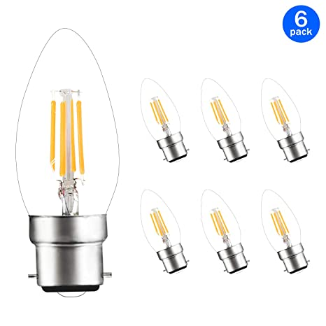 Svater - Bombillas LED de filamento de bayoneta B22, 4 W, C35, luz