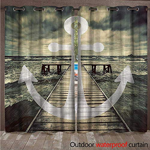 BlountDecor Nautical Outdoor Curtain Panel for Patio Ocean Waves with Pier W120 x L96 (Pier Lighted Right)