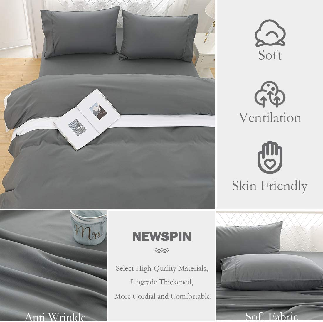 3 Piece Twin Sheet Set,Black 1800 Series Soft Sheets Thicken Durable Double Brushed Microfiber Wrinkle Resistant Bedding Sheet fit 16 inch Deep Pockets Mattress Newspin Bed Sheets Set