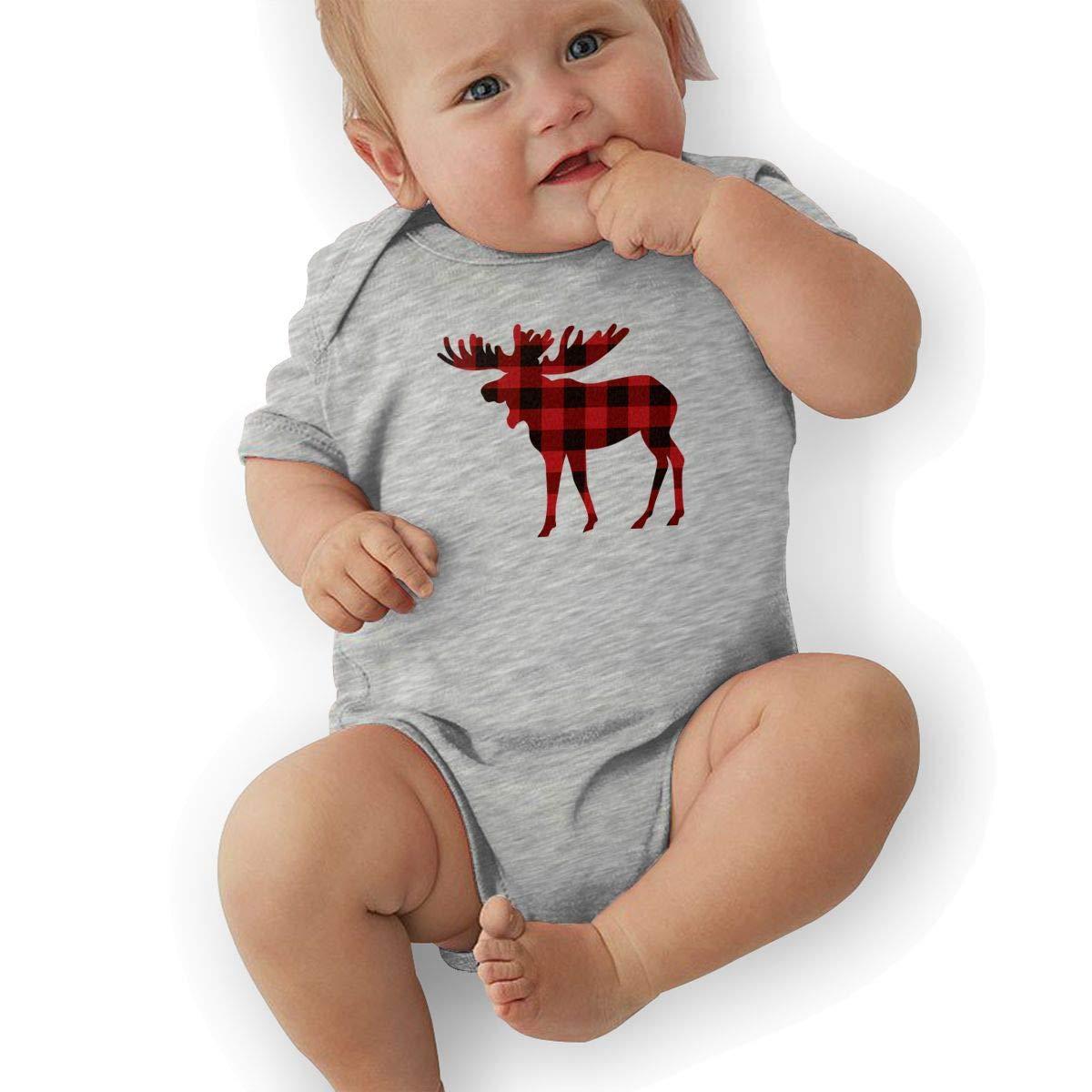Unisex Baby Short Sleeve Organic Bodysuits Buffalo Plaid Moose 2 Baby Clothes