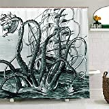 ZOEO Octopus Shower Curtain for Bathroom Teal Ocean Kraken Attack Ink Fabric Shower Curtain Set Backdrop 12 Hooks Waterproof Polyester Washable for Old Bathroom 72x72 inch