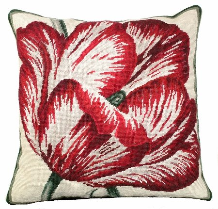 (Deluxe Pillows Large Tulip 18 x 18 inches needlepoint pillow, Beige Velvet Back)