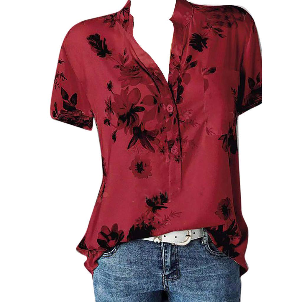 ✔ Hypothesis/_X ☎ Womens Plus Size V Neck Tops Short Summer Floral Print Short Sleeve Tops with Pocket