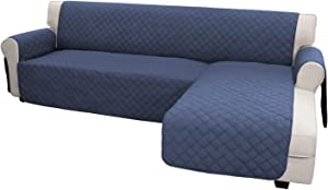 Easy-Going Sofa Slipcover L Shape Sofa Cover Sectional Couch Cover Chaise Lounge Slip Cover Reversible Sofa Cover Furniture Protector Cover for Pets Kids Children Dog Cat(Large,Dark Blue/Dark Blue)