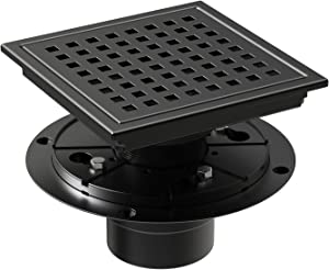 WEBANG 6 Inch Square Shower Floor Drain With Flange,Quadrato Pattern Grate Removable,Food-grade SUS 304 Stainless Steel,WATERMARK&CUPC Certified,Matte Black