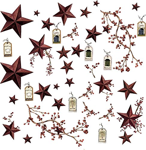 Country Stars 40 Big Removable Wall Decals Rustic Berries Room Decor Stickers (Decals Rustic Wall)