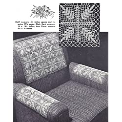 Vintage Crochet PATTERN to make - Doily Chair Set Mat Laurel Leaf Motif Design. NOT a finished item. This is a pattern and/or instructions to make the item only.