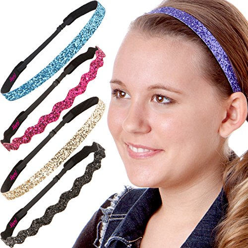 Hipsy Womens Adjustable NO SLIP Bling Glitter Headband Mixed Pack (Multiple Colors Sparkling Jewels 5pk)