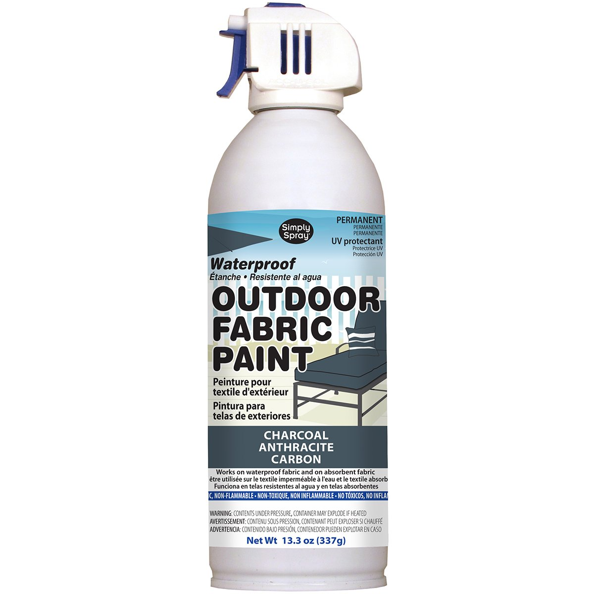 Deval Products OF004600 Outdoor Spray Fabric Paint, 13.3 oz, Charcoal