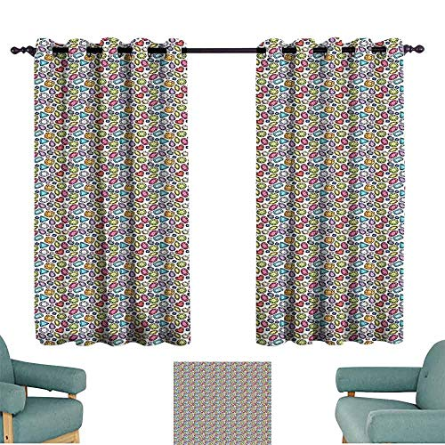HCCJLCKS Decor Curtains Diamonds Hand Drawn Sketch Style Pattern Colorful Crystal Arrangement Pear Pentagon Oval Blackout Draperies for Bedroom Window W63 xL63 Multicolor