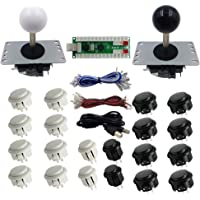 SJ@JX 2 Players Diy Arcade Game Button And Joysticks Controller Kits For Raspberry Pi And Windows,5 Pin Joysticks,Black And White Each With 10 Buttons Black White
