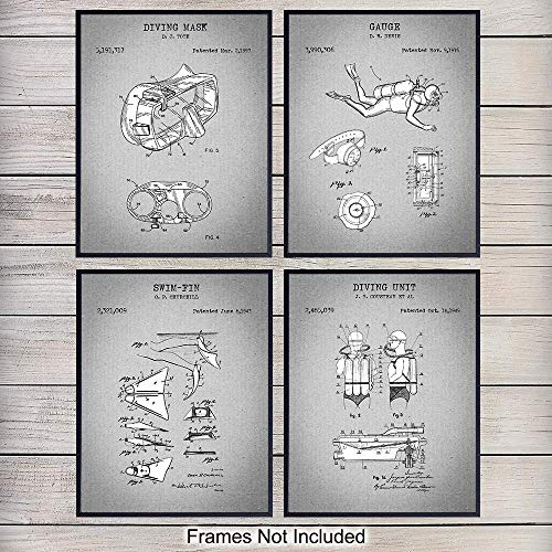 Surfing Patent Art Prints - Vintage Tropical Wall Art Poster Set - Chic Rustic Ocean Home Decor for Beach House, Man Cave, Living Room, Bedroom, Game Room - Gift for Surfers - 8x10 Photo Unframed