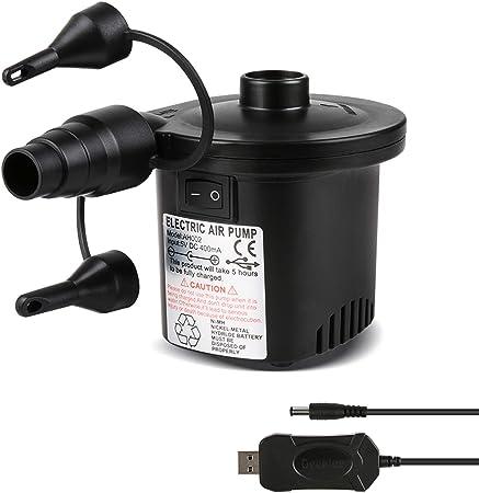 Oferta amazon: Deeplee Bomba de Aire Eléctrica, Inflador Bateria Recargable de llenado Rápido para Inflar Desinflar, Inflador Colchon Hinchable, 3 Boquillas Incluidas (Adaptador USB: 5V)