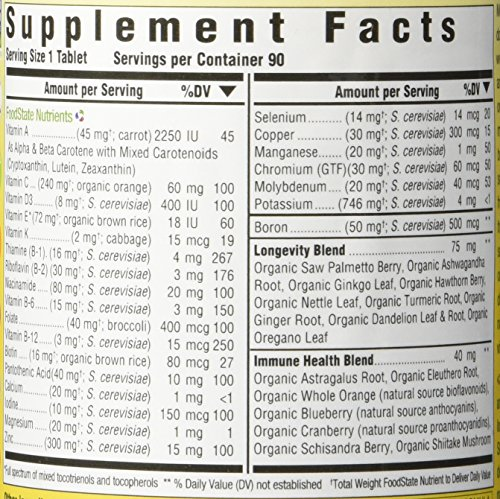 MegaFood - Men Over 40 One Daily, Multivitamin Support for Healthy Energy Levels, Prostate Function, Mood, and Bones with Zinc and B Vitamins, Vegetarian, Gluten-Free, Non-GMO, 90 Tablets (FFP) by MegaFood (Image #2)